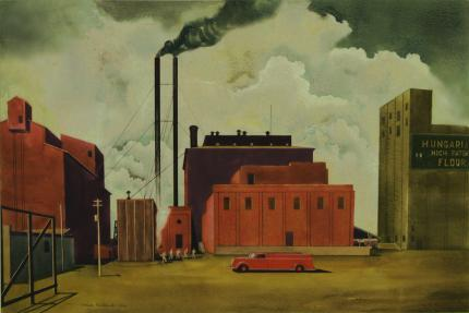 "Vance Hall Kirkland, ""Hungarian Flour Mill (Denver, Colorado)"", watercolor on paper, 1936"