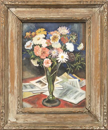 George Macrum still life with flowers gouache painting fine art for sale purchase buy sell auction consign denver colorado art gallery museum 1930