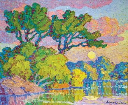 "Sven Birger Sandzen, ""Early Moon (Smoky Hill River, Lindsborg, Kansas)"", oil, 1940 painting for sale Sandzén"
