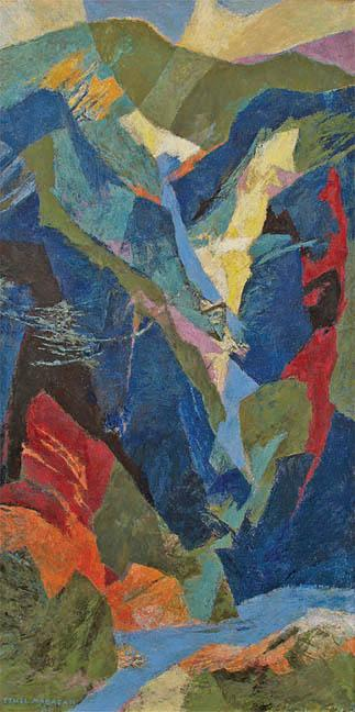 """Ethel Magafan, """"Waterfall"""", tempera on board, c. 1955"""