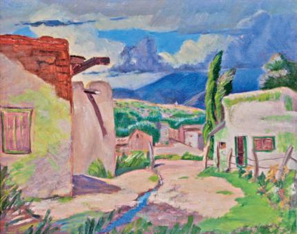 "Frank Joseph Vavra, ""Storm Clouds Over Santa Fe"", oil, c. 1940"