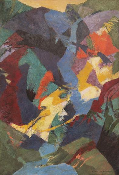 "Ethel Magafan, ""Canyon Falls"", tempera on board, c. 1950"