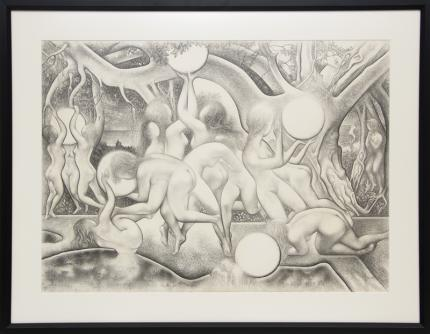 "Ross Eugene Braught, ""Nude figures in landscape"", graphite, 1971 painting fine art for sale purchase buy sell auction consign denver colorado art gallery museum"