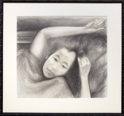 "Ross Eugene Braught, ""Portrait of child"", graphite, 1963 for sale purchase consign auction denver Colorado art gallery museum"