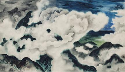 "Vance Hall Kirkland, ""Colorado Clouds"", watercolor on paper, 1941"