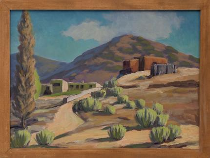 """Clarence Durham, """"Southwest Adobes"""", oil on canvas, circa 1930, Denver Artists Guild, Mountains, new mexico, southern colorado vintage landscape painting for sale"""
