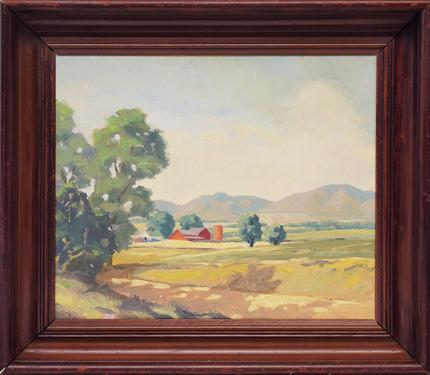 """Clarence Durham, """"Untitled (The Red Barn)"""", oil"""