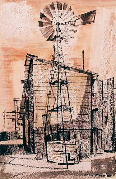 "Jenne Magafan, ""Windmill on the Plains"", mixed media, 1941"