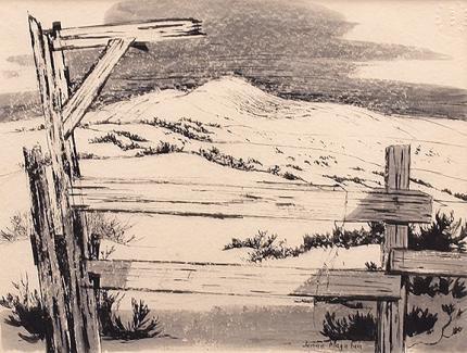 "Jenne Magafan, ""Prairie Fence"", ink on paper, 1939"
