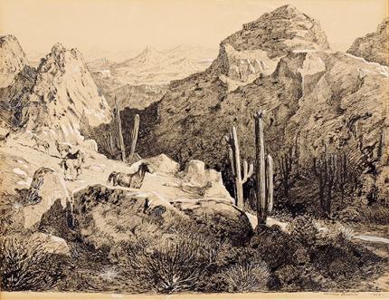 "Edward Borein, ""Untitled (Mustangs)"", mixed media, 1923"