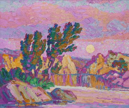 "Sven Birger Sandzen, ""Creek at Twilight, Wild Horse Creek Kansas"", oil, 1927"