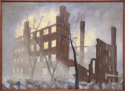 """Edward Goldman, """"Ruins (Chicago Riots)"""", acrylic, c. 1968 for sale purchase consign auction denver Colorado art gallery museum"""