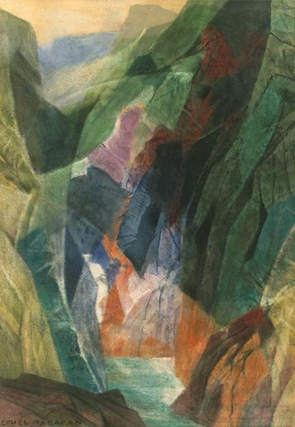 "Ethel Magafan, ""Rocky Gorge"", watercolor, circa 1955 woodstock artist colorado landscape modernism abstract tempera"