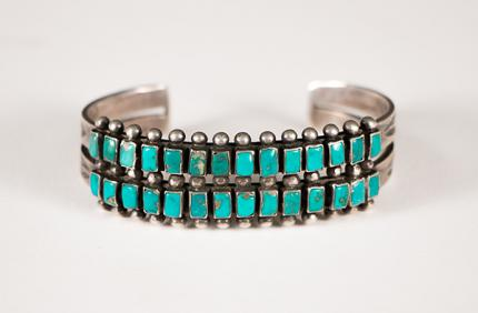 Zuni bracelet silver and turquoise old pawn vintage native american indian southwestern jewelry for sale purchase consign sell auction art gallery museum denver colorado