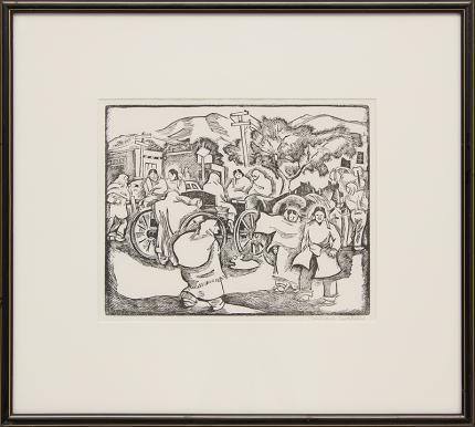 "Barbara Latham, ""Saturday Morning (Market, Taos Plaza, New Mexico)"", linoleum cut, circa 1950 for sale purchase consign auction denver Colorado art gallery museum"