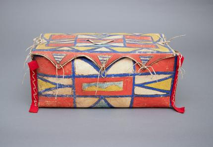 Antique Native American Painted Parfleche Box, Plateau, 19th Century for sale purchase consign auction art gallery museum denver