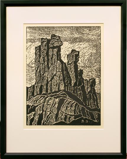 "Sven Birger Sandzen, ""The Temple of the Great Spirit; one edition printed"", woodcut, 1922 for sale purchase consign auction denver Colorado art gallery museum"