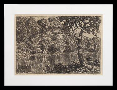 "Sven Birger Sandzen, ""River Motif; edition of 50"", lithograph, 1918 art gallery for sale purchase graphic work"