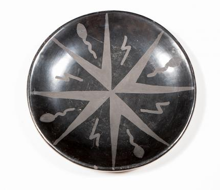 Maria Martinez San Ildefonso blackware plate lightning bolts and tadpoles for sale purchase consign sell auction art gallery museum denver colorado