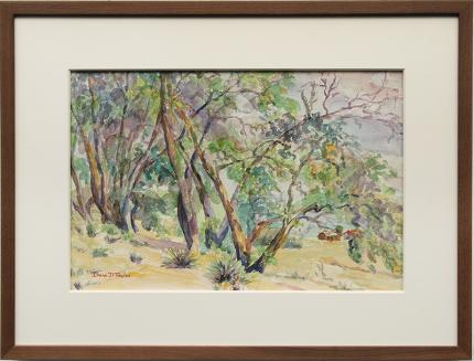 "Irene D. Fowler, ""Untitled (Trees in a Western Landscape)"", watercolor Denver Colorado art gallery painting for sale auction"