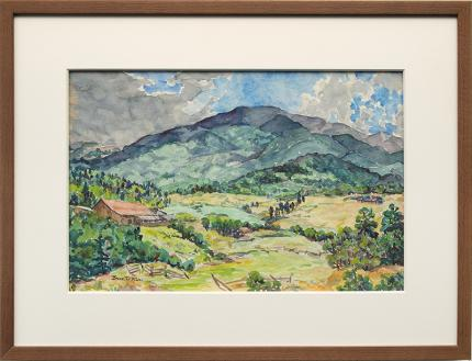 "Irene D. Fowler, ""Untitled (Landscape with Distant Mountain)"", watercolor"