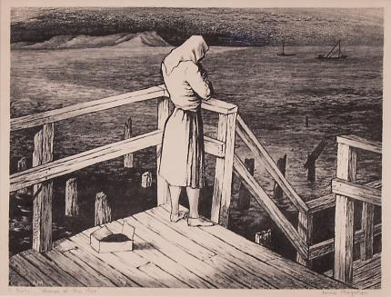 """Jenne Magafan, """"Woman at the Pier (San Francisco, California)"""", lithograph, 1943 for sale purchase consign auction denver Colorado art gallery museum"""