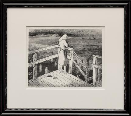 "Jenne Magafan, ""Woman at the Pier (San Francisco, California)"", lithograph, 1943 for sale purchase consign auction denver Colorado art gallery museum"