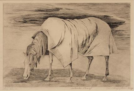"Ethel Magafan, ""Lone Horse, Artist Proof"", etching, 1947 for sale purchase consign sell auction art gallery museum denver colorado"