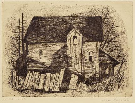 "Jenne Magafan, ""An Old House"", etching, 1938"