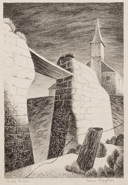 "Jenne Magafan, ""Adobe Ruins"", lithograph, 1938 art gallery for sale purchase auction"