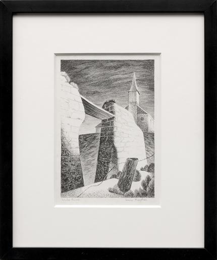 "Jenne Magafan, ""Adobe Ruins"", lithograph, 1938 for sale purchase consign auction denver Colorado art gallery museum"