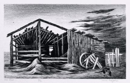 "Jenne Magafan, ""Old Shed, 11/12"", lithograph, 1938 for sale purchase consign sell auction art gallery museum denver colorado"