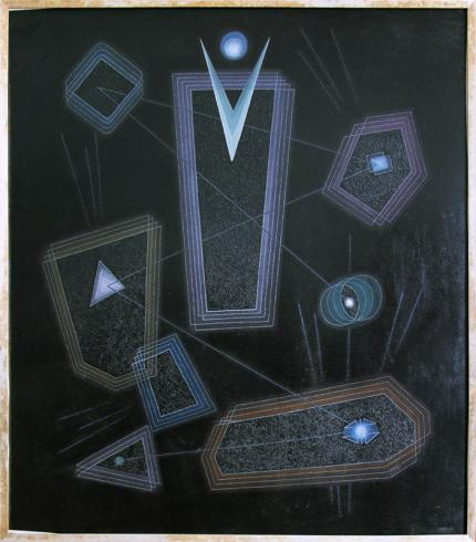 "Emil James Bisttram, ""Space Abstraction"", oil, 1951 painting for sale purchase consign auction denver Colorado art gallery museum"