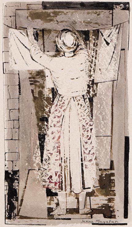 "Jenne Magafan, ""Untitled (Wash Day)"", mixed media, circa 1950"