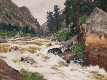 "Charles Partridge Adams, ""Untitled (Colorado River)"", oil, circa 1910"
