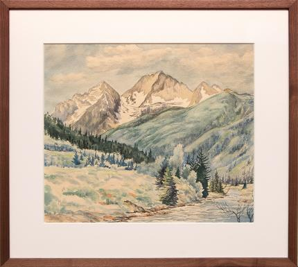 "Mabel Feucht, ""Untitled"", watercolor painting, 1958 for sale purchase consign auction denver Colorado art gallery museum"