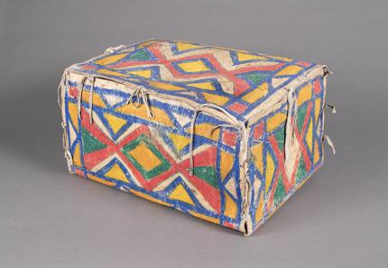 Antique American Indian Painted Parfleche Box, Sioux, circa 1880 for sale purchase consign auction art gallery museum denver
