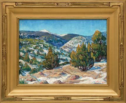 "Martin Shaffer, ""Taos Landscape"", oil, circa 1950 for sale purchase consign auction denver Colorado art gallery museum"