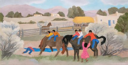 """Barbara Latham, """"Acequia Madre"""", oil, circa 1960, painting for sale purchase consign auction denver Colorado art gallery museum"""