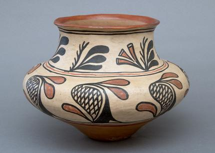 olla storage jar polychrome san ildefonso pueblo southwestern pottery  Native American Indian antique vintage art for sale purchase   auction consign denver colorado art gallery museum