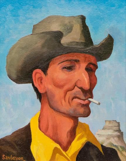 "William Sanderson, ""The Hombre"", oil, circa 1980"