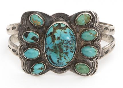 vintage old pawn navajo bracelet silver turquoise southwestern Native American Indian antique vintage art for sale purchase auction consign denver colorado art gallery museum