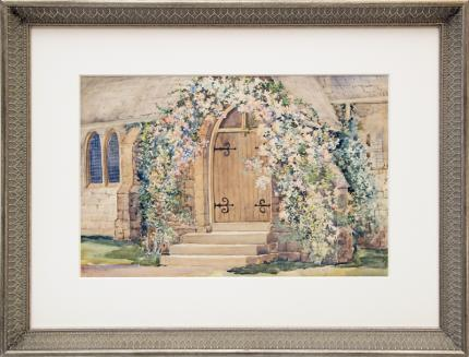 """Maude Leach, """"St. Andrew's Episcopal Church, Manitou (Colorado)"""", watercolor, circa 1915 painting fine art for sale purchase buy sell auction consign denver colorado art gallery museum"""