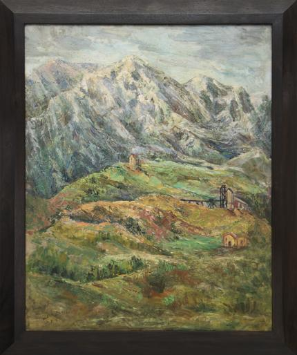 """Zola Zaugg, """"Untitled (Colorado)"""", oil, 1958 painting fine art for sale purchase buy sell auction consign denver colorado art gallery museum"""