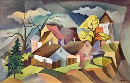 """William Sanderson, """"Untitled (Colorado Town)"""", oil, circa 1950 painting fine art for sale purchase buy sell auction consign denver colorado art gallery museum"""