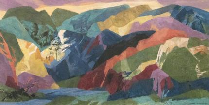 "Ethel Magafan, ""Over All the Peaks is Silence"", tempera painting for sale purchase auction consign denver colorado art gallery museum"