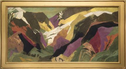 "Ethel Magafan, ""Last of the Snows (Colorado)"", tempera painting for sale purchase auction consign denver colorado art gallery museum"