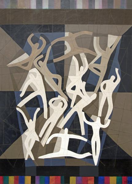 """Margo Hoff, """"Action Series - Dance"""", mixed media, 1981for sale purchase consign auction denver Colorado art gallery museum"""