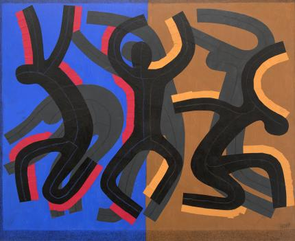 """Margo Hoff, """"Mandance"""", mixed media painting for sale purchase auction consign denver colorado art gallery museum"""