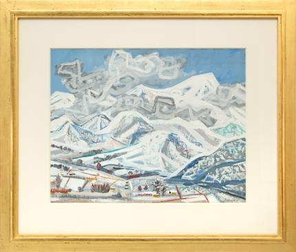 "Leo Garel, ""Rocky Mt. Winter"", gouache, 1953 fine art for sale purchase buy sell auction consign denver colorado art gallery museum"